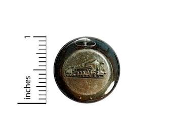 Vintage Fob Watch Train Button // Steampunk Dieselpunk Cosplay Pinback // Pin 1 Inch 14-26