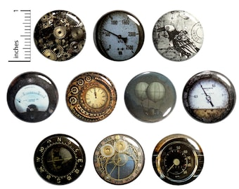 """Steampunk Pins (10 Pack) Buttons for Backpacks or Fridge Magnets, Vintage Style Gauges, Dieselpunk, Gift Set 1"""" 10P5-1"""