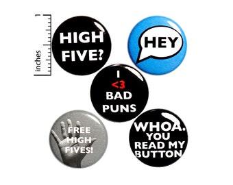 """Funny Buttons or Fridge Magnets Cool Jacket Lapel Pins Conversation Starters Pin for Backpack Badges Brooches 5 Pack 1"""" P33-2"""