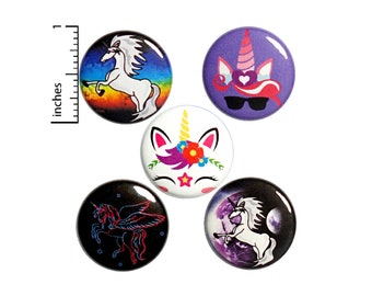 """Unicorn Button 5 Pack of Backpack Pins Cute Buttons Badges Lapel Pins Brooches Bag Pins Unicorns Gift Set 1"""" #P21-1"""