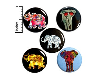 """Elephant Pin for Backpack Buttons or Fridge Magnets, Elephant Gift, Mandalas, Elephant Pin or Magnet 5 Pack, 1"""" P16-2"""