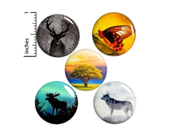 """Nature Pin for Backpack Buttons or Fridge Magnets 5 Pack Wilderness Forest Animal Pins Deer Wolf Moose Butterfly Nature Gift Set 1"""" P26-5"""