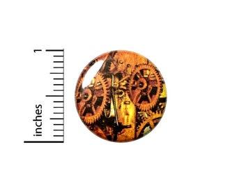Steampunk Gears Button // Victorian Pin // Clockwork Pinback // Pin 1 Inch 11-12