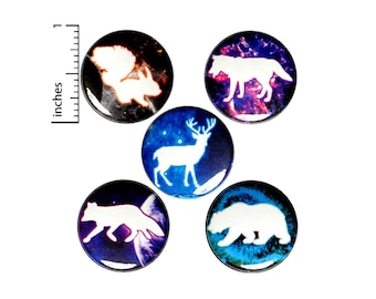 Cool Space Buttons or Fridge Magnets, Space Gift, Animal Pins or Magnets, Forest Animals, Cool Pin 5 Pack, Space Pins, Gift Set 1 Inch SP3-4