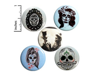 """Sugar Skull Buttons 5 Pack of Backpack Pins Macabre Macab Lapel Pins Cool Brooches Badges Accessories Macabre Edgy Gift Set 1"""" P25-4"""