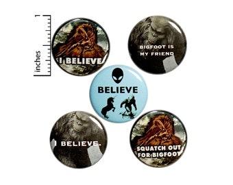 "Bigfoot Buttons or Fridge Magnets, Backpack Pins, Yeti Buttons, Sasquatch, Bigfoot Gifts, Buttons or Magnets, 5 Pack, Gift Set 1"" P16-5"