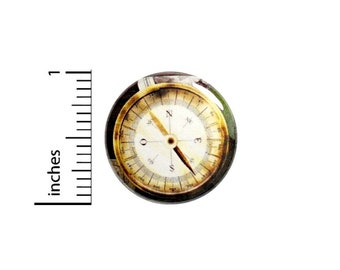 Gold Compass Button // for Backpack or Jacket Pinback // Traveler Explorer Steampunk Pin // 1 Inch 15-5