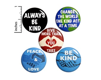 """Kindness Buttons 5 Pack Backpack Pins 1"""" P13-4"""