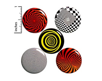 """Psychedelic Gift Set Spiral Pin Button or Fridge Magnet, Backpack Pin 5 Pack, Weird, Twisted, Cool Friend Gift, Magnet or Pin Set, 1"""" P40-4"""