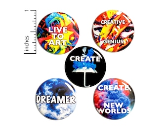 """Artist Gift Set, Pin Buttons or Fridge Magnets, Creative Pin or Magnet 5 Pack, Backpack Pins, Painter, Performance Art Pins, Gift, 1"""" #P19-1"""