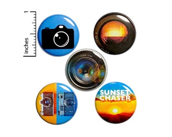 """Photography Gifts, Buttons or Fridge Magnets, 5 Pack of Backpack Pins, Lapel Pins, Sunset Pins, Cool Pins, Photographer Gift Set 1"""" #P9-5"""