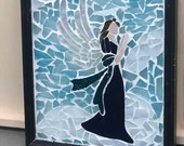 Angel Glass on Glass in Black Wooden Frame