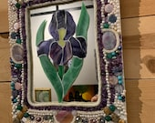 Classy and Elegant Iris Mirror with Jewel and pearl embellishments