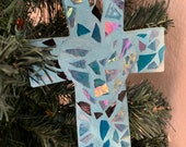 Winter Blue Christmas Cross Tree Ornament 6""