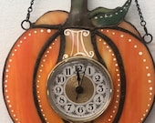 Super Cute Little Stained Glass Pumpkin Clock Perfect Functional Decor for Fall, Thanksgiving, Autumn, Halloween