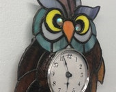 Silly Old Owl Stained Glass Clock