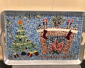 Charming Christmas Mosaic Platter with Nana And Papa Stockings
