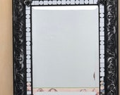 Large Sturdy 20x24 Gothic Emo Black and Silver Mirrored Mixed Media Mirror, Haunting, Halloween