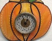 Super Cute Little Stained Glass Pumpkin Clock Perfect Functional Decor for Fall, Thanksgiving, Autumn, Halloween