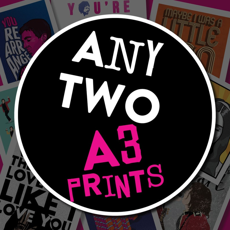 Any TWO A3 prints from ArtyBurgers shop