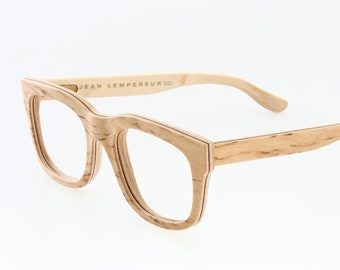 1adb3675aa8 JEAN LEMPEREUR vintage real multilayered wood square wayfarer eyeglasses  frames