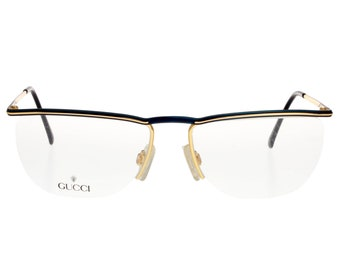 a20bc7f421 Gucci vintage oval / oversize eyeglasses, metal black and gold frame.  Rimless lenses, thick brow line. Made in Italy 1980 NOS
