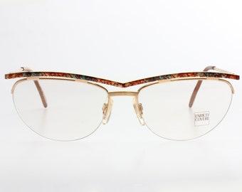 9f76b75b5d5 Enrico Coveri hip oval vintage gold eyeglasses frames with unusual  multicolor brow line