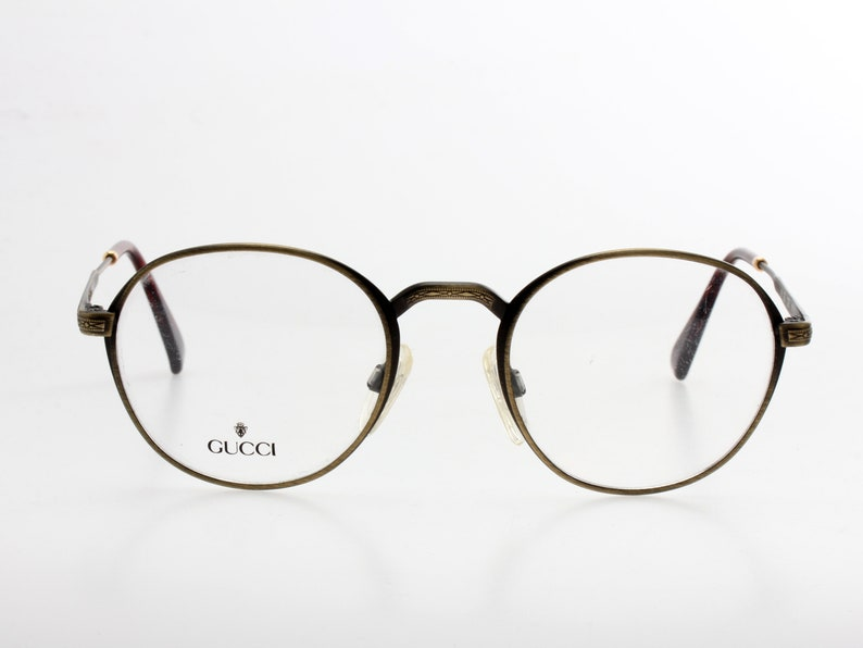 f68de5e6a2f Gucci vintage dark gold metal round eyeglasses frame with