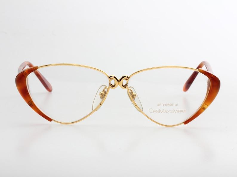 08d25b4bf47 GianMarco Venturi vintage gold and cello cateye eyeglasses