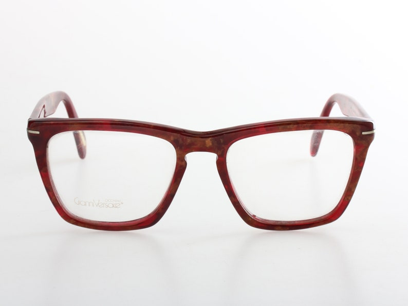 bcddd1cc2063 Gianni Versace NOS 80s square brown red marbled cello