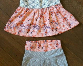 Peplum top and pleat bubble shorts outfit