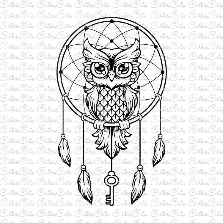 Owl with key Svg dreamcatcher Dxf Png Eps files vector owl ...