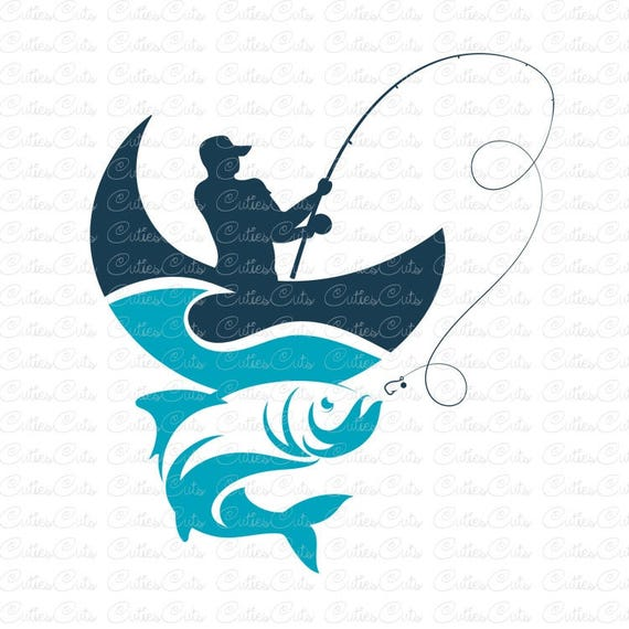 fishing svg fisherman dxf png eps file vector fish clipart etsy