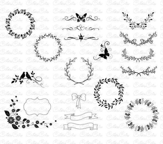 Floral ornaments svg laurel wreath dxf png eps vector files etsy image 0 stopboris Gallery