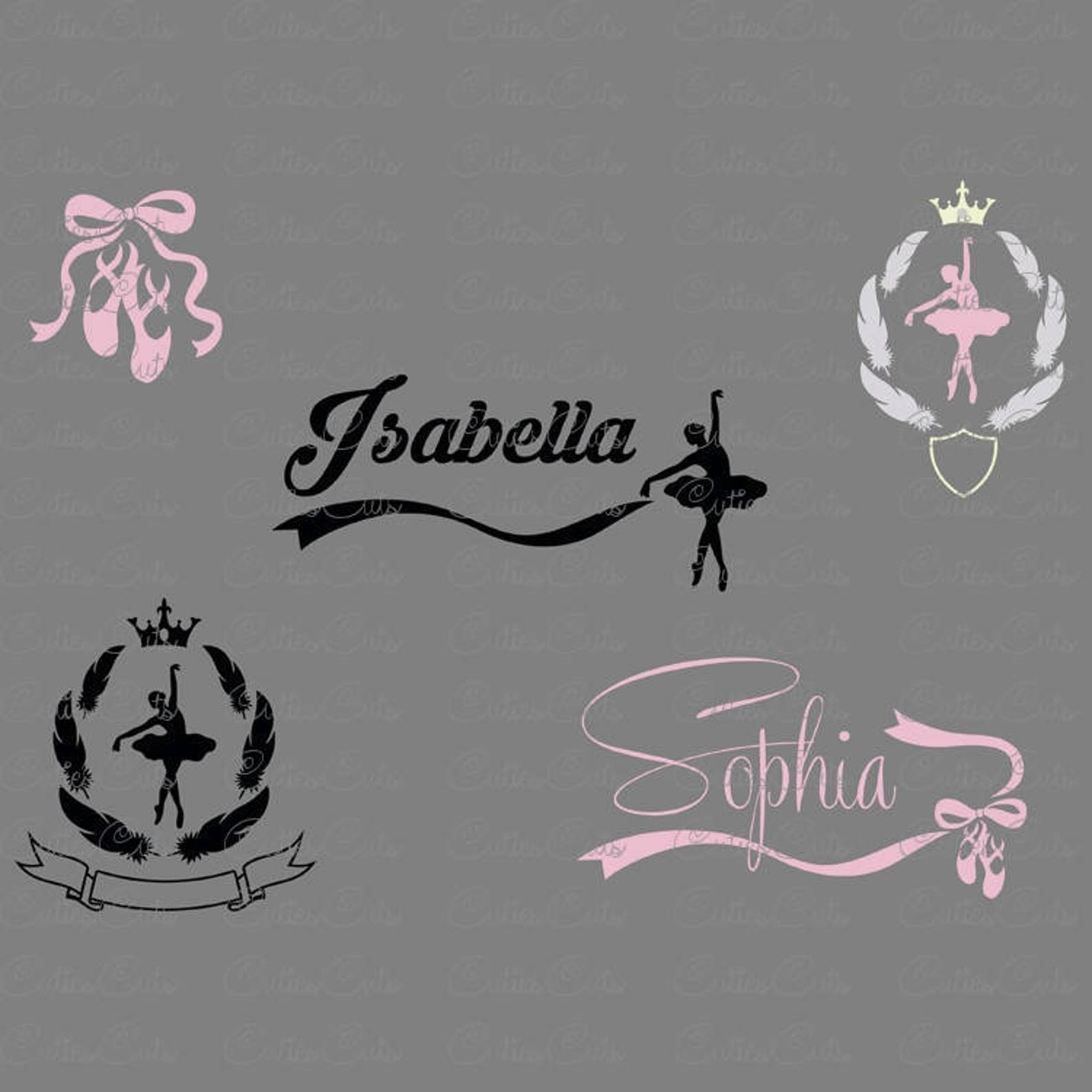 ballet svg ballerina silhouette dxf png eps files vector ballet shoes monogram dancer clipart dancing ballerina logo design prin