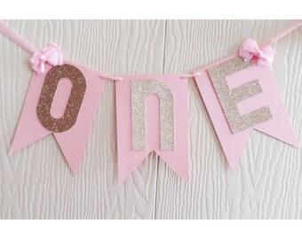 Pink Birthday Banner, Pink and Gold, Gold First Birthday, Highchair Banner
