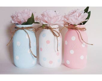 Gender Reveal, Gender Mason Jars, Gender Centerpieces, Boy or Girl, Gender Surprise, Gender Reveal Party