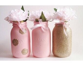 Pink Mason Jars, Gold Glitter Centerpiece, Baby Shower Decor, Pink and Gold, Gold First Birthday