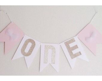 Pink Birthday Banner, Pink and Gold, Pink First Birthday, Gold First Birthday
