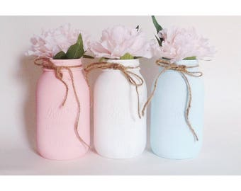Gender Reveal, Boy or Girl, Gender Mason Jars, Gender Centerpieces