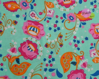 Cotton Fabric turquoise Mirabelle