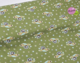 Cotton fabric space green stars, rocket (6.66 EUR / meter)