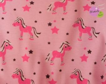 Organic Jersey Horses Pink