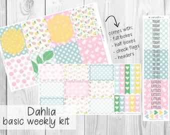 BASIC WEEKLY KIT // Dahlia for Erin Condren Life Planner™, Classic Happy Planner