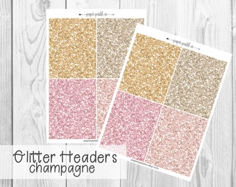 Glitter Headers - Champagne by PaperPastelCo for use with the Erin Condren Vertical Life Planner™ and Classic Happy Planner