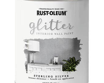 Rust-Oleum Brush-On Glitter Paint Silver Quart Size -- Priority Mail Shipping -- 323858