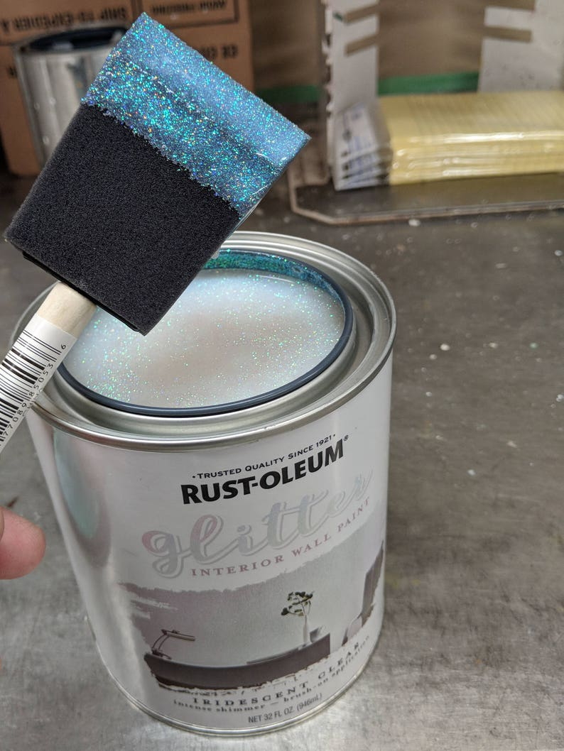 Rust-Oleum Brush-On Glitter Paint Iridescent Clear Quart Size -- Priority  Mail Shipping -- 323860