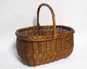 Vintage French Wooden Basket , Farmhouse Country Decor, Primitive Farmhouse Antiques