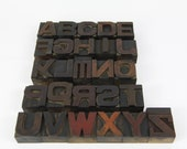 Antique Letterpress Letters, Full Alphabet Set, Stamps, Wood Type Printers Block Letters, Printers Stamps, Crafting, Upcycle