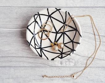 Ring Dish, Jewellery Dish, Condiment Dish, Homeware Gifts, Monochrome Home Accessory, Home Décor, Handmade Ceramics, Jewelry Storage